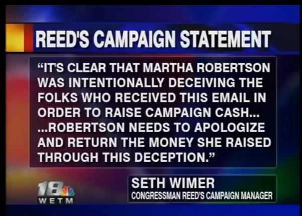 Reed Campaign demands Robertson return money - WETM screen shot