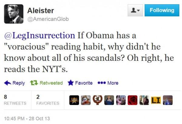 Twitter - @AmericanGlob - Obama voracious reader