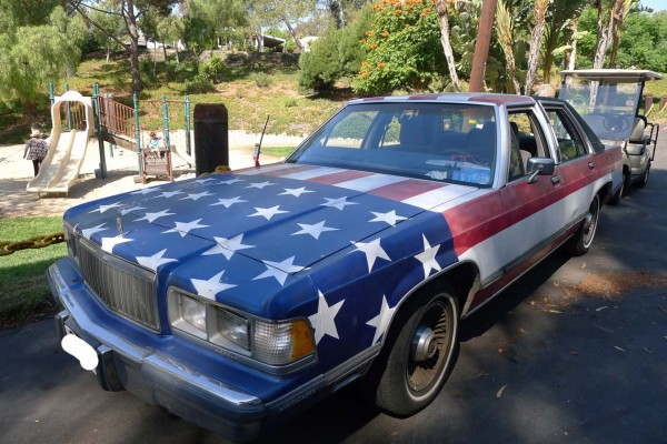 Bumper Sticker - Malibu - Front Flag Car