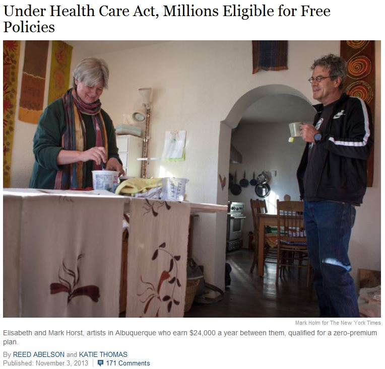 NYT Artists free Obamacare