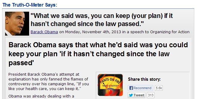 Politifact Obama Promise Pants on Fire