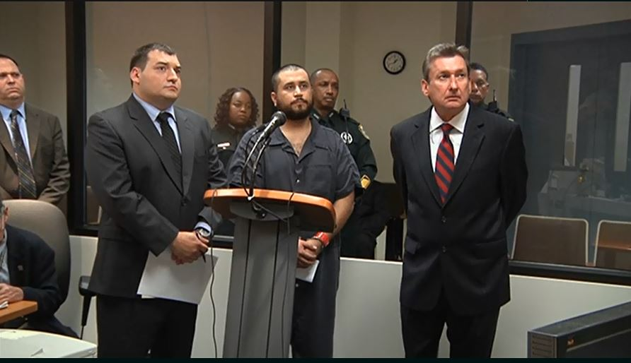 (George Zimmerman with his attorneys at November 19, 2013 bond hearing)