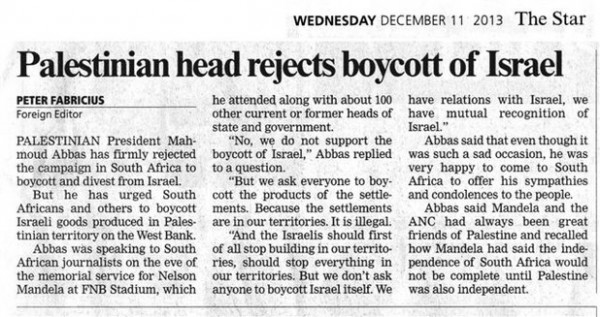 Abbas Israel Boycott The Star