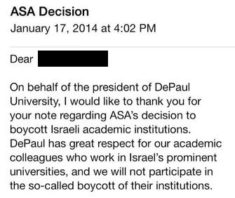 DePaul U email re Israel Boycott