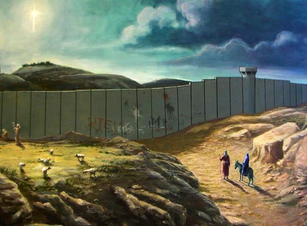 Joseph and Mary can't make it to Bethlehem banksyx-mas