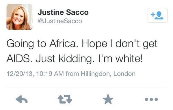 Justine Sacco Africa Tweet