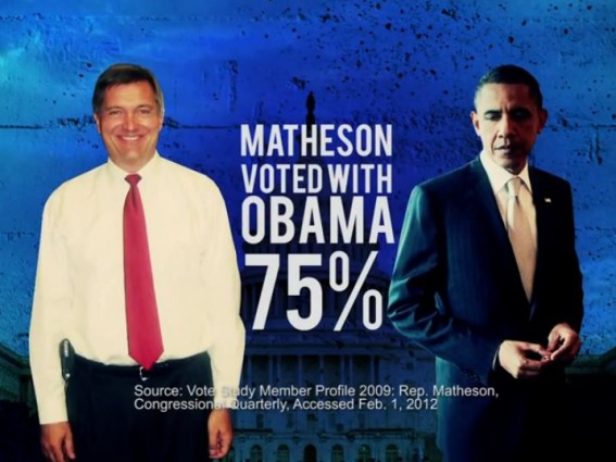 Matheson Voted With Obama screen cap
