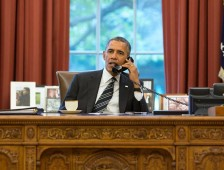 Obama on Telephone in White House