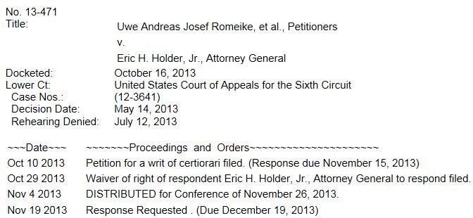 Romeike Supreme Court Docket ao 12-2-2013