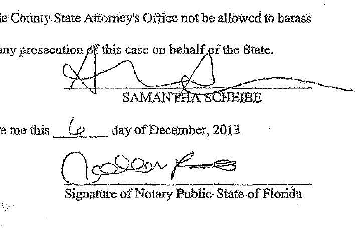 Samantha Scheibe signature Affidavit 12-9-2013