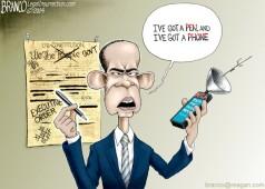 Pen and Phone Cartoon