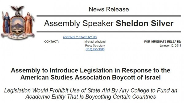 Press Release Sheldon Silver re academic boycott Jan 12 2014