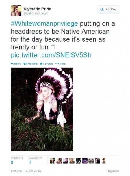 Twitter White Woman Privilege Indian Head Dress
