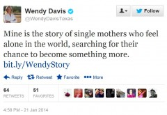 Wendy Davis Tweet 1-21-2014 Single Mothers