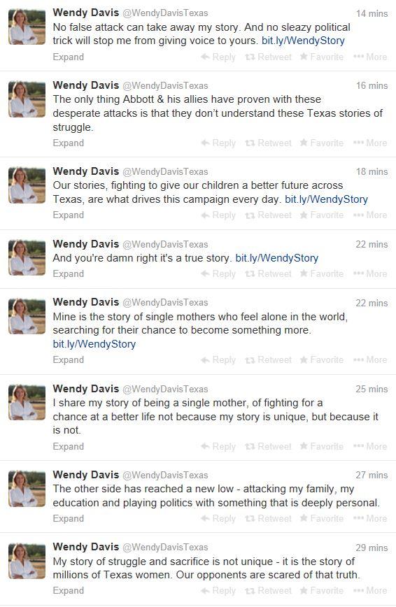 Wendy Davis Twitter Stream Jan 21 2014