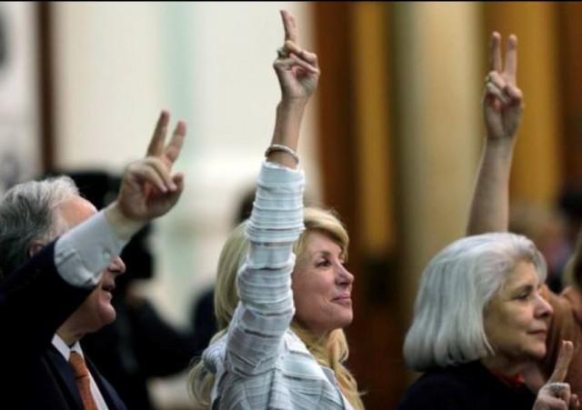 Wendy Davis rising victory sign via Facebook Page