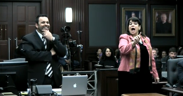 (Defense Counsel Cory Strolla and State Attorney Angela Corey.)