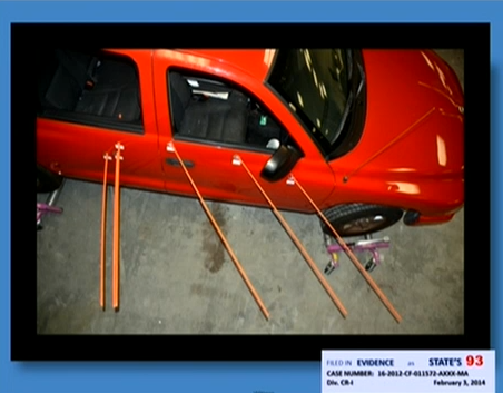 (Trajectory dowels in SUV.)
