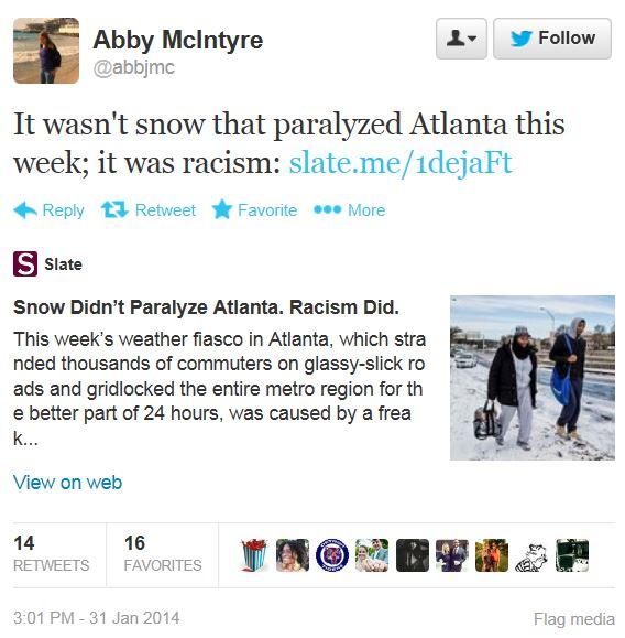 Slate Twitter Snow Racism