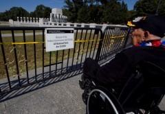 Vet in wheelchair WWII Memorial