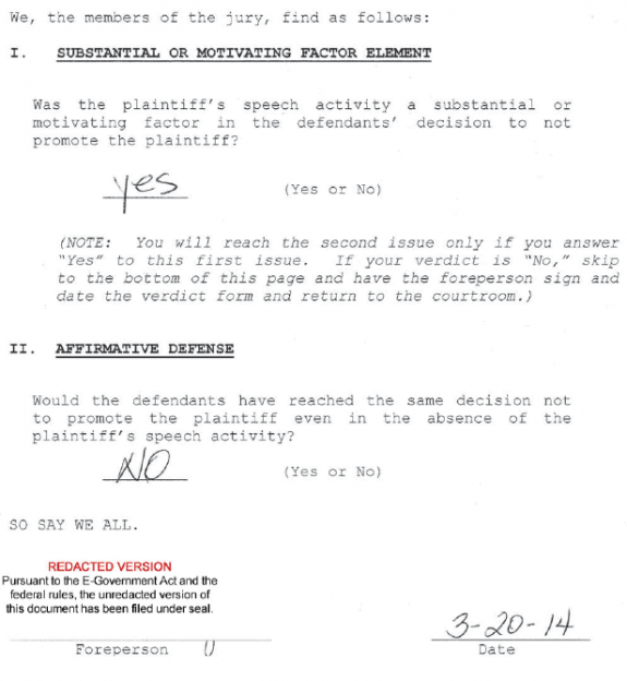 Adams v UNC - Wilmington - Jury Verdict Form Answers