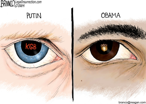 Eyes of Putin and Obama