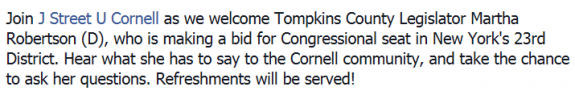 Martha Robertson Cornell J Street Event Page Facebook Description