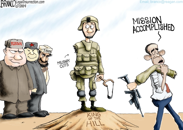 Obama Cuts Military AFBranco Conservative Cartoon