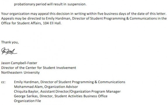 Northeastern SJP Suspension Notice 5