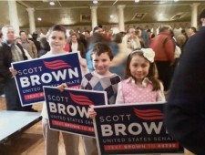 Scott Brown 2010 Election Night Kids Signs