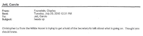 Sherrod Case - Email Charles Fromstein July 20 re White House