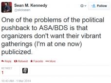 Twitter Sean Kennedy ASA BDS NYU Conference pushback