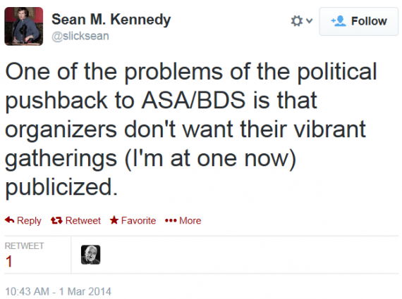 Twitter Sean Kennedy ASA BDS NYU Conference pushback