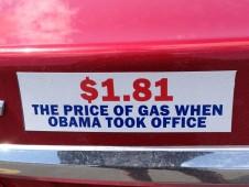 Bumper Sticker - Ithaca - Price of Gas When Obama Took Office