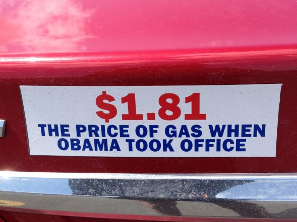 Bumper Sticker - Ithaca - Price of Gas When Obama Took Office
