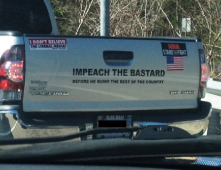 Bumper Sticker - Kingston MA - Impeach The Bastard