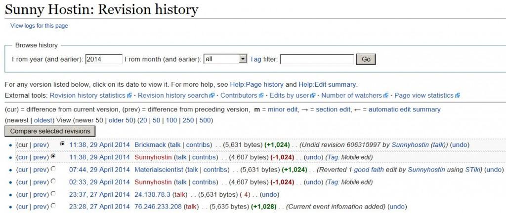 Sunny Hostin Wikipedia Revision History ao 4-29-2014 1130 am EST