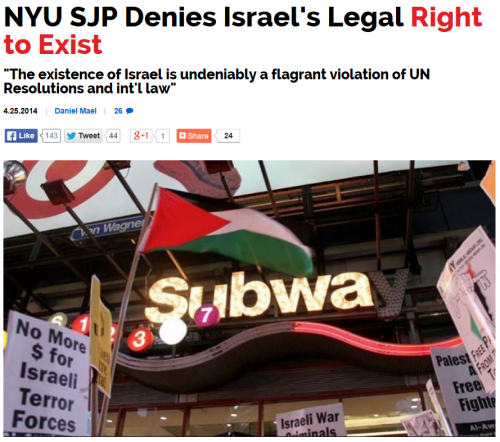 Truth Revolt NYU SJP denies Israel's right to exist