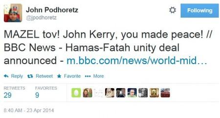 Twitter - @JohnPodhoretz - Netanyahu Hamas PLO Unity