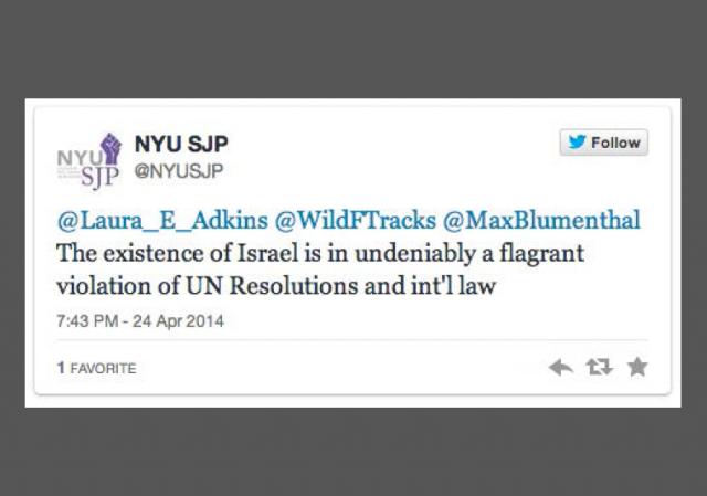 Twitter- @NYUSJP Israel existence violates Intl Law - ORIGINAL image 640x