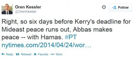 Twitter - @OrenKessler - Netanyahu Hamas PLO Unity