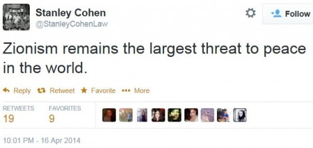 Twitter - @StanleyCohenLaw - Zionism largest threat to peace in world