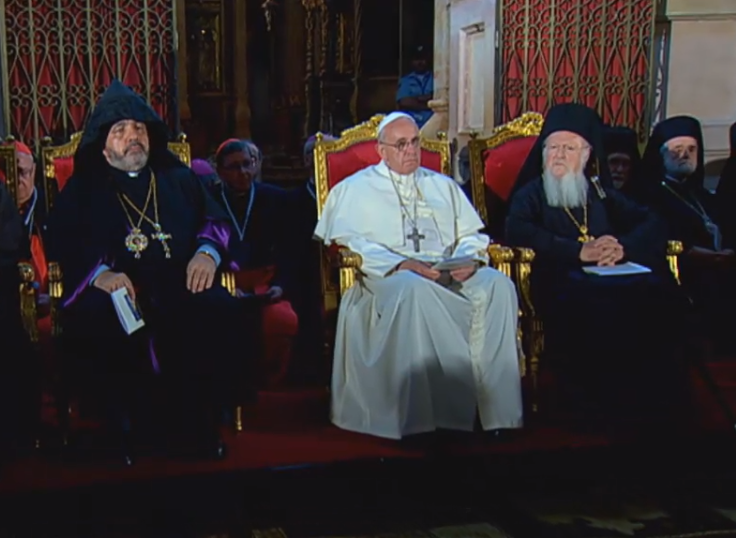 Pope Francis church of holy sepulchre seated