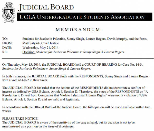 UCLA Judicial Board Decision re Israel Trips 5-21-2014