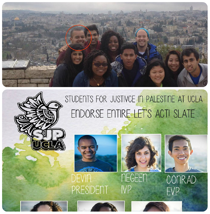 Top - Devin Murphy, Jerusalem, 2013 - Trip Paid For By The American Jewish Committee Bottom - Devin Murphy, Los Angeles, 2014 - Campaign Materials Produced By Students For Justice In Palestine