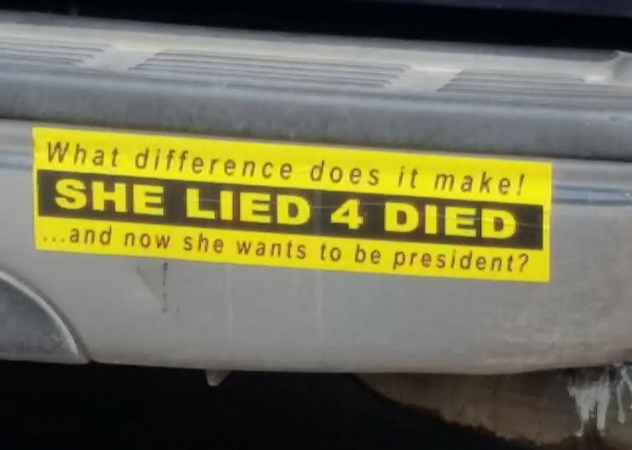 Bumper Sticker - High Springs, FL - She Lied 4 Died Close Up
