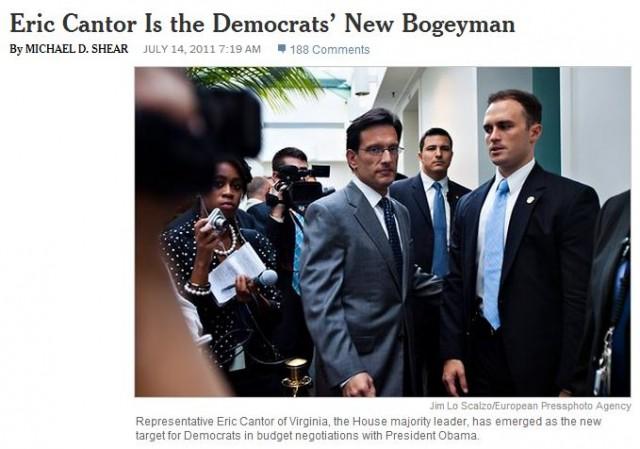 Eric Cantor Democrats New Bogeyman NY Times