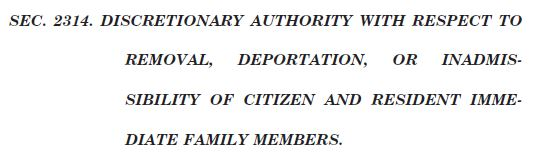 Gang of 8 Immigration Bill Section 3214 Discretion of Secretary Title