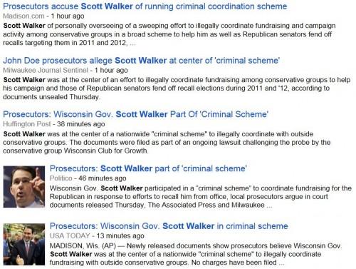 Headlines Scott Walker Accused of criminal scheme