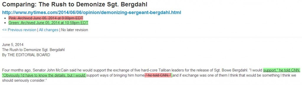 NY Times Rush to Demonize Sgt Bergdahl Archive June 5 2014 10 59 pm